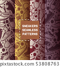 Run shoe seamless pattern, running shoes vector sneakers or trainers vector illustration set of 53808763