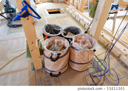 Stock Photo: construction site, new construction, garbage bag, construction 53811301