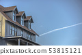 Contrail on the beautiful sky over home in Utah 53815121