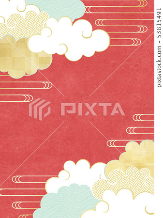 Japanese paper-texture-illustration-blue sky-clouds-red 53815491