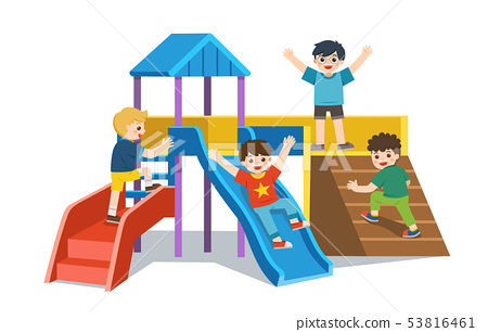 Happy excited kids having fun together. 53816461