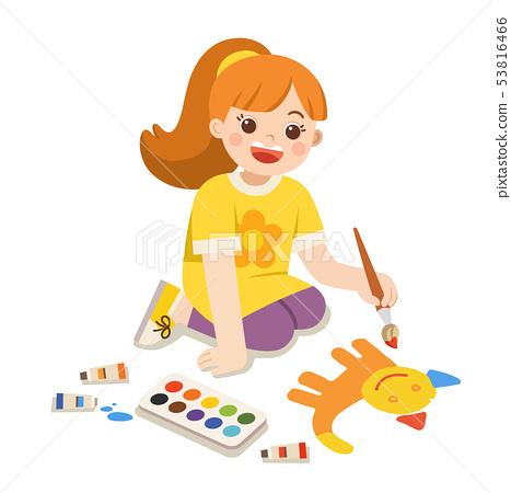 Happy Girl paints pictures on floor. 53816466