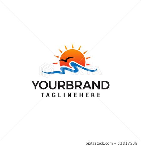 sun beach logo design concept template vector 53817538