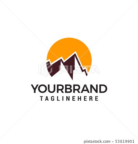 mountain sun vector Logo design vector template 53819901