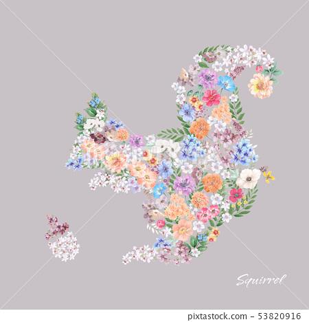 花卉組成的可愛的動物圖案 53820916