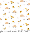 Hedgehogs and dragonflies autumn forest cute pattern on white seamless background. 53820977