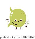 Sad sick stomach character. Vector  53823467