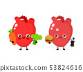 Happy cute smiling healthy with broccoli 53824616