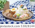 햄버거와 카레라이스 월남 쌈과 디저트 카페 요리 이미지 소재 53828144