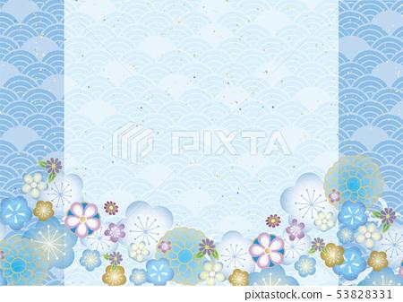 상쾌한 하늘색 일본식 패턴 53828331