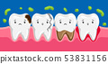 Illustration of sick teeth in oral cavity. 53831156