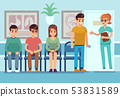 Patients in doctors waiting room. People wait hall clinic corridor hospital ambulance professional 53831589