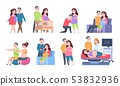 Couple pregnancy characters. Woman and newborn baby activities, young parents set of scenes. Vector 53832936