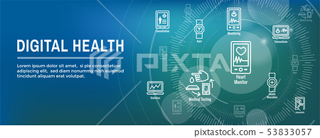Digital Health Icon Set with Wearable Technology 53833057