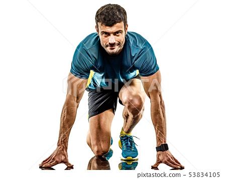 mature man running runner jogging jogger isolated white background 53834105