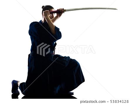 man laido Katori Shinto ryu isolated shadow silhouette white background 53834128