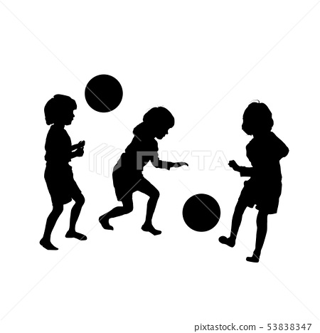 Childres soccer game, vector silhouettes 53838347