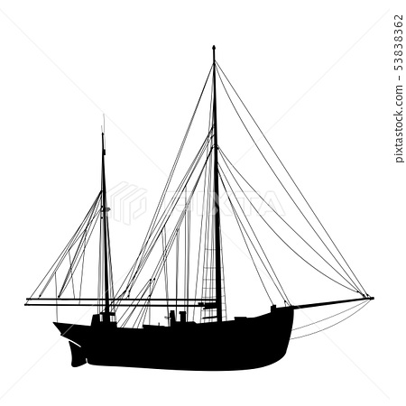 Sailing yacht silhouette 3 53838362