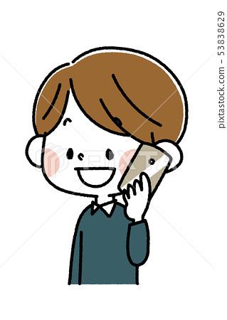A boy talking on a smartphone 53838629