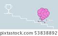 cute human brain climbing stairs up to golden trophy cup pink cartoon character winner success 53838892