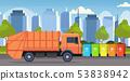 orange garbage truck urban sanitary vehicle loading recycling bins segregate waste sorting 53838942