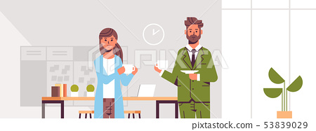 businesspeople couple drinking cappuccino business man woman discussing during meeting coffee break 53839029