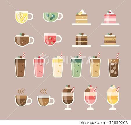 咖啡館飲料和蛋糕例證 53839208
