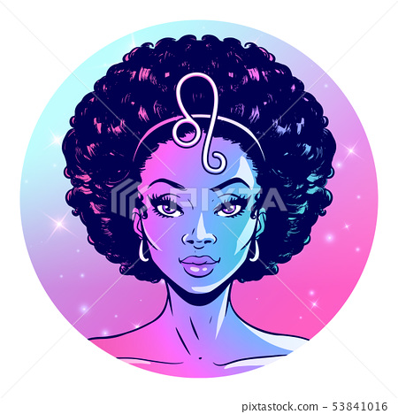 Leo zodiac sign artwork, girl horoscope 53841016