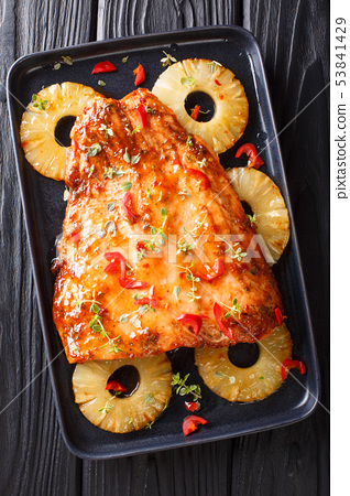 salmon dish with a sweet and spicy sauce and juicy 53841429