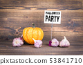 Halloween party, pumpkins and garlic 53841710