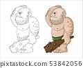 Vector cartoon clip art illustration of a tough mean muscular ogre or giant 53842056