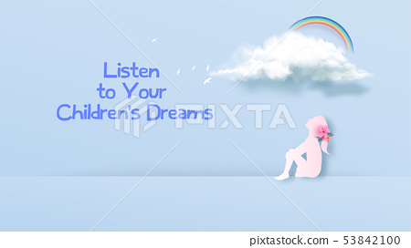 A girl looking at the dream cloud. Dreaming girl 53842100