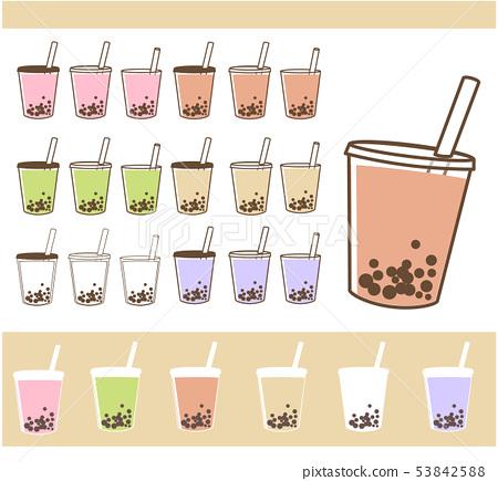 木薯奶茶,草莓奶茶,綠茶奶茶,紫薯,水果酸奶等插圖材料 53842588