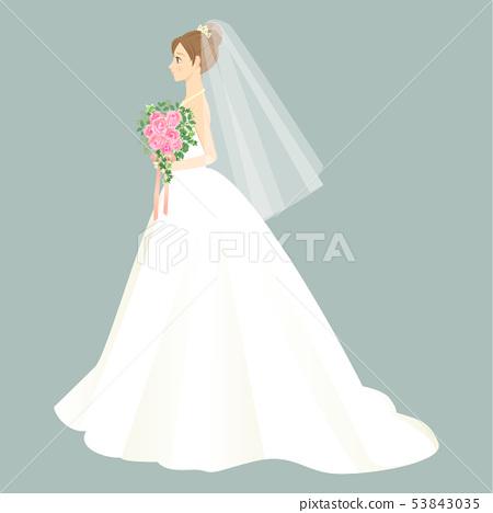 拿著花束和穿婚禮禮服的婦女 53843035