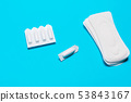 Medical, vaginal suppositories on a blue 53843167