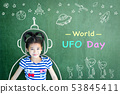 World UFO day and outer space week education  53845411