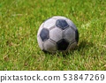 Old leather soccer ball on grass Football Sport 53847269