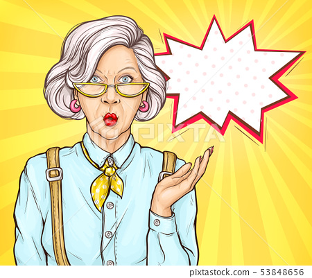 Pop art old woman surprised wow face expression 53848656