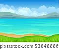Calm blue sea. Vector illustration on white background. 53848886