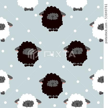 Black sheep with dot Seamless pattern 53849781