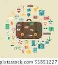 Vacation icons set. Summer holidays. Travel and Tourism. Vector 53851227