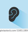 Body senses heard. Ear icon with shade on blue 53851389