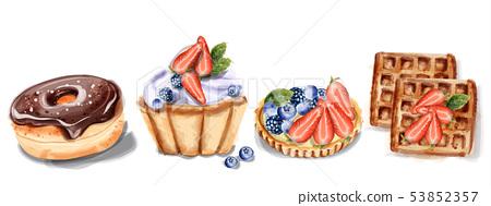 donuts cupcake and waffles Invitation card Vector 53852357