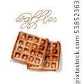 Waffles Vector watercolor. breakfast simple fresh 53852363