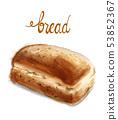 Watercolor bread Vector illustration. Vintage 53852367