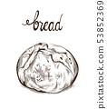 Bread Vector lineart. Vintage homemade bakery menu 53852369
