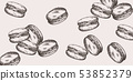 Macaroons pattern line art Vector. Delicious 53852379