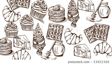 Sweets pattern Vector line art style. Ice cream, 53852388