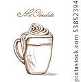 Hot chocolate Vector line art style. Delicious 53852394