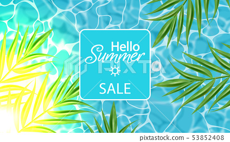 Blue water Vector realistic. Summer sea party 53852408